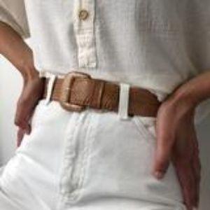 Vintage Cognac Snake Skin Belt - XS/S